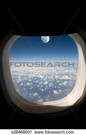 Picture of Moonrise seen through airplane window (Digital.