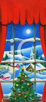 View of a Village at Christmas Seen Through a Window of a House.