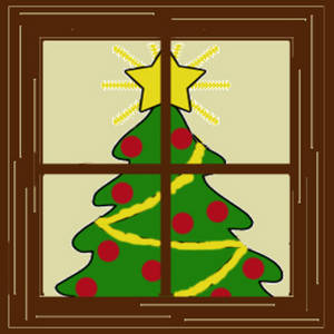 Clipart Picture of a Christmas Tree Seen Through a Window.