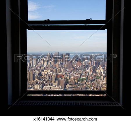 Stock Photo of USA, New York, Manhattan seen through window.