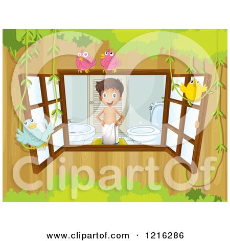 Cartoon of a Boy in a Bathroom Seen Through a Window.