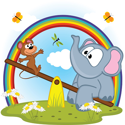 Elephant See Saw Clipart.