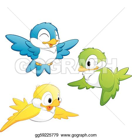 Funny Birds Cartoon Set Stock Photos.