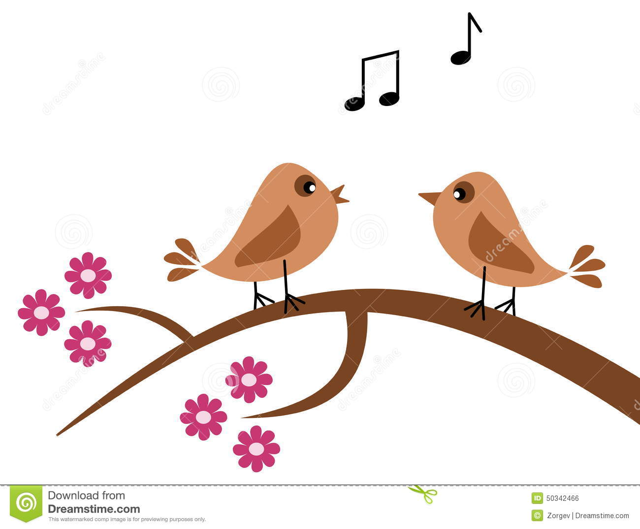 Birds In The Spring Singing Stock Vector.