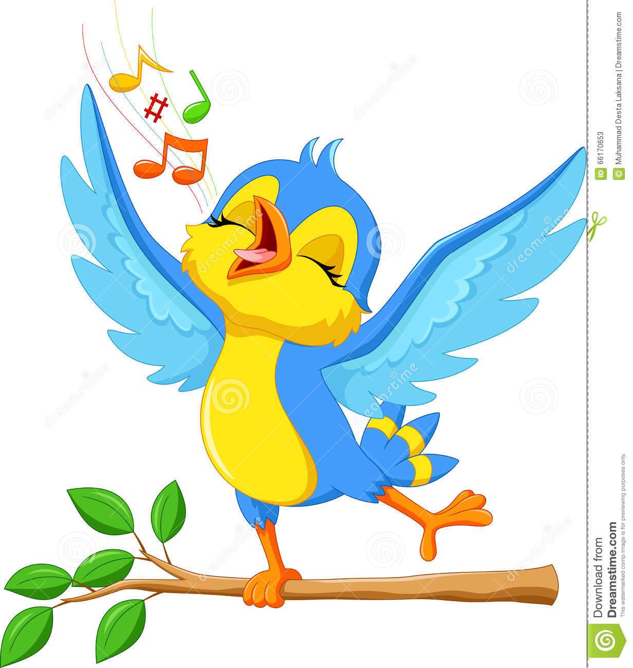 Cute Bird Singing Stock Illustration.