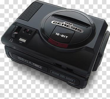 Classic Consoles, black Sega Genesis console transparent.