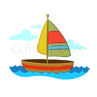 Vector illustration of cartoon yacht.