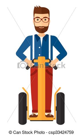 Clipart Vector of Man riding on segway..