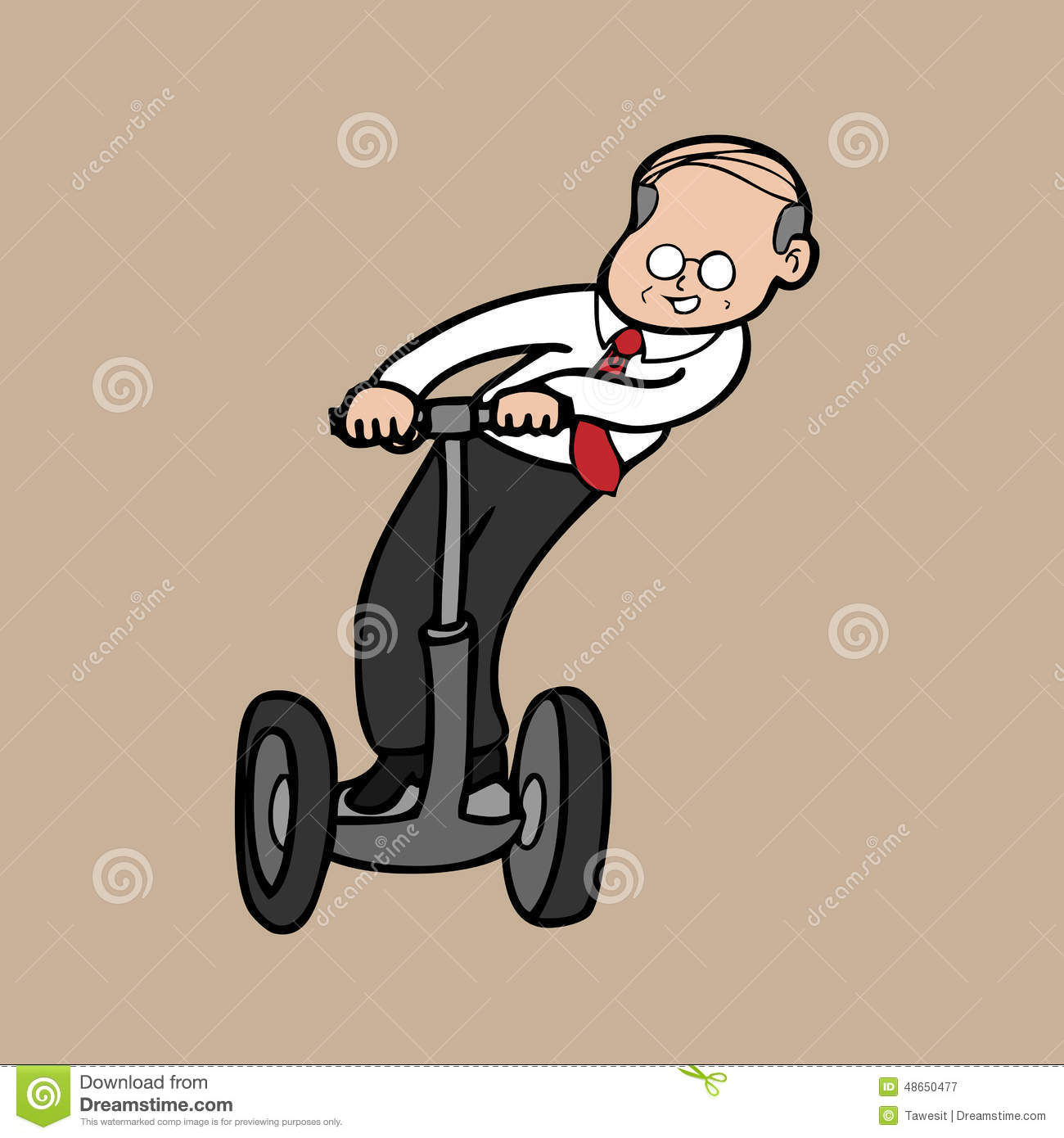 Businessman On Segway Old Stock Vector.