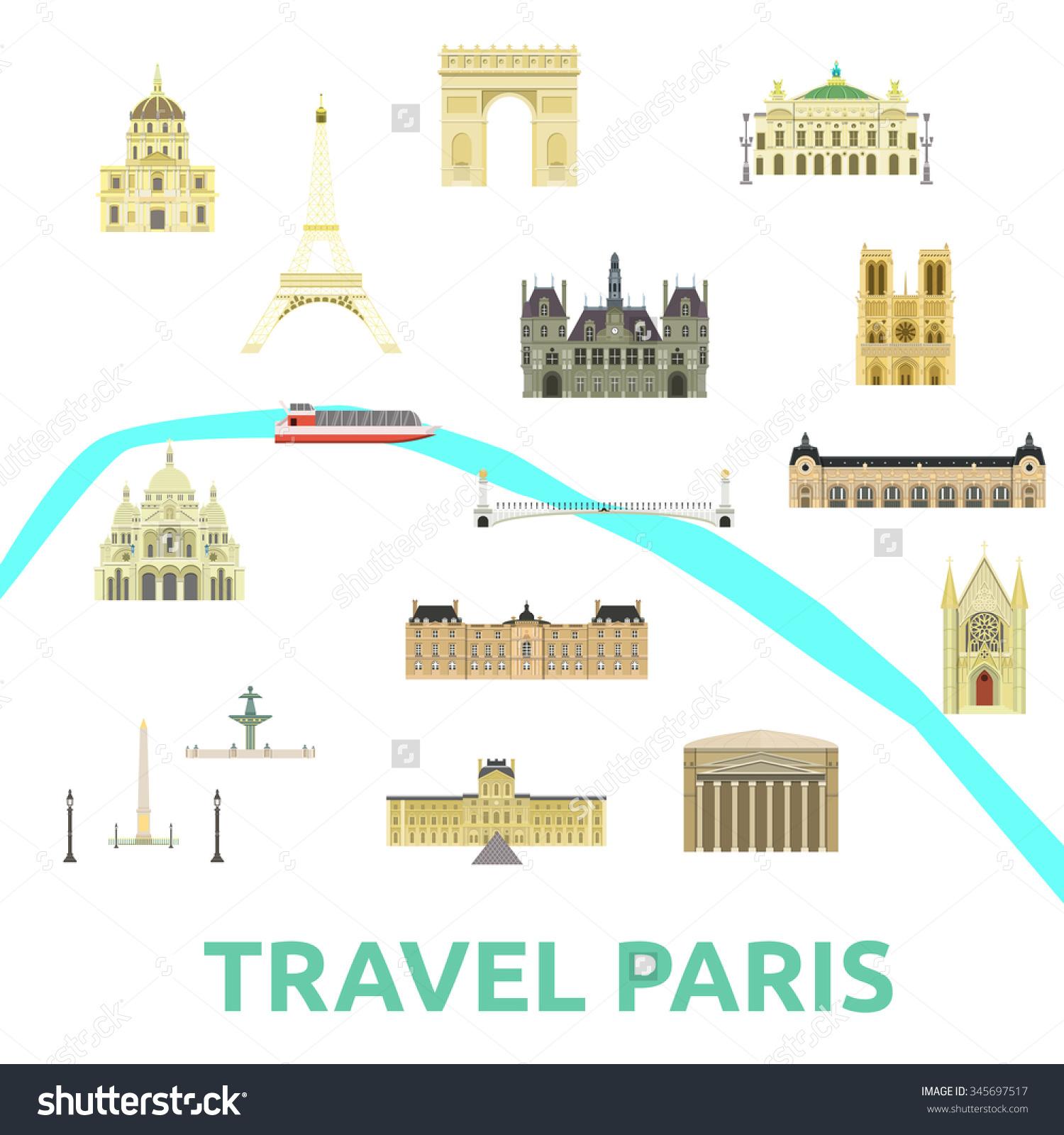 Map Paris Attraction Landmarkbridge Museum Opera Stock Vector.