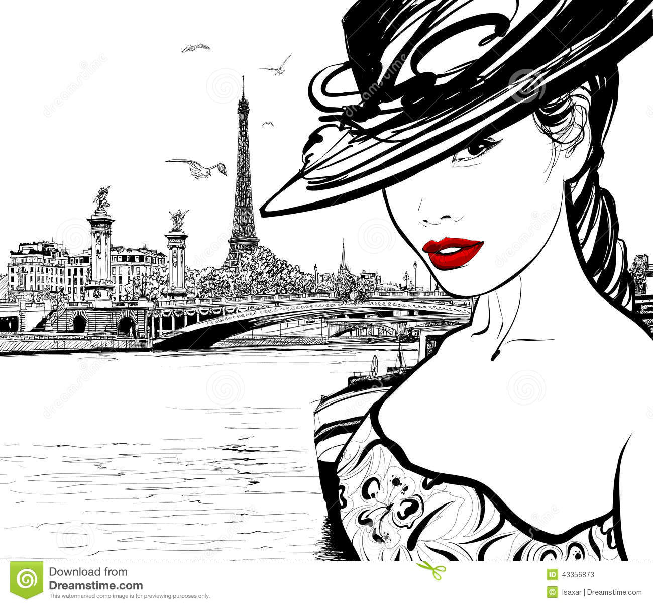 Young Woman Near The Seine River In Paris Stock Vector.