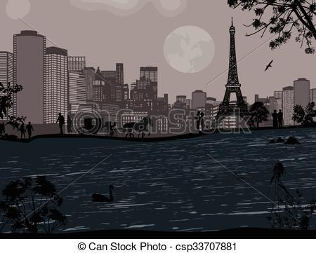 Vector of Eiffel Tower and Seine river.
