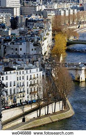 Pictures of Aerial view of the Seine River banks and Ile Saint.