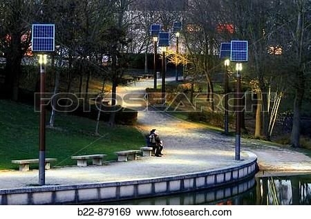 Stock Photograph of Photovoltaic public lighting, Bussy.