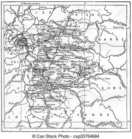 Stock Illustration of Map of department of Seine.