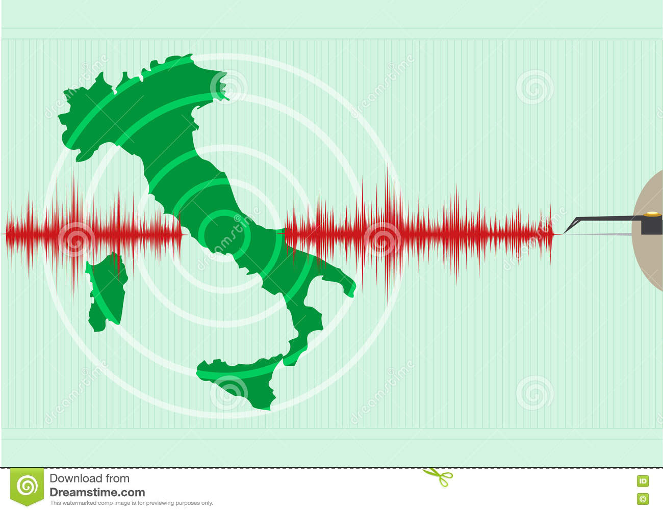 Italy Map Earthquake. Epicenter Recorded With A Seismic.