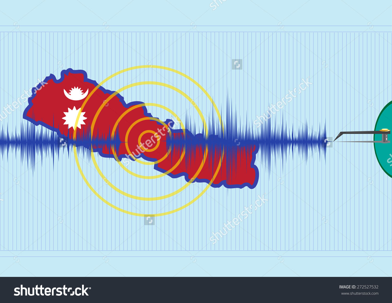 Nepal Earthquake Concept Powerful Record Quake Stock Vector.