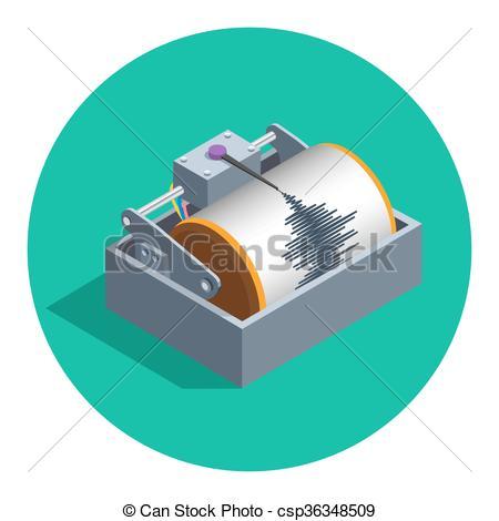 Vector Clipart of Earthquake seismograph icon.