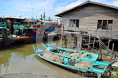 Sekinchan Fishing Village Stock Photo.