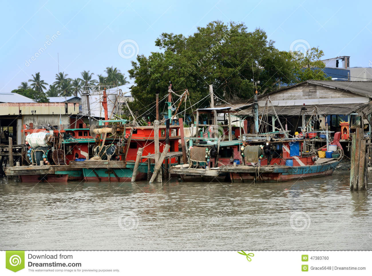 Sekinchan Fishing Village Stock Photo.