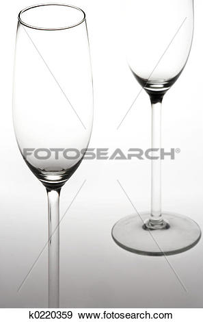 Stock Photograph of Sparkling Wine Glasses.