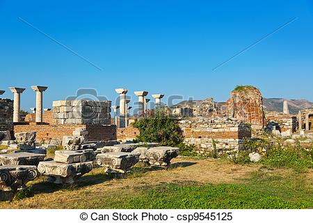 Stock Images of Ruins of st. Johns Basilica at Selcuk Ephesus.