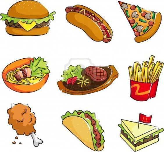 A vector illustration of fast food icons Stock Photo.