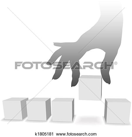 Clipart of Hand picks one from a selection of five copyspaces.