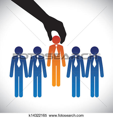 Clip Art of Hand find select person in line of people k4239528.