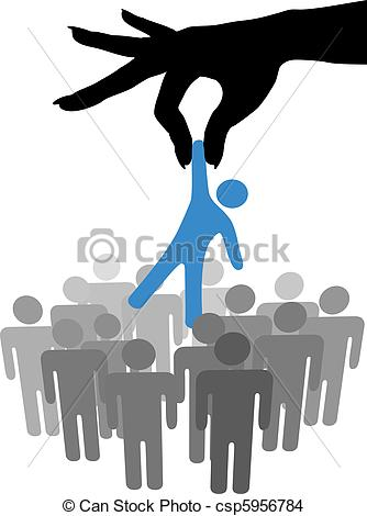 EPS Vector of Hand find select person in people group.