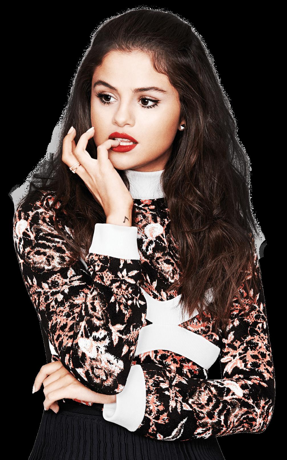 Selena Gomez Thinking PNG Image.