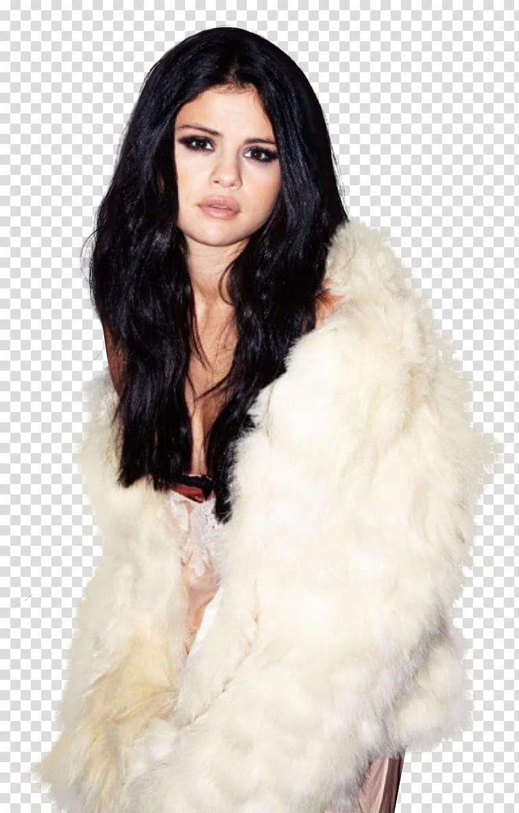 Selena Gomez, woman in white fur coat in serious face.