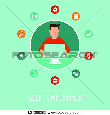 Clipart of Vector self employed man in flat style k21288382.