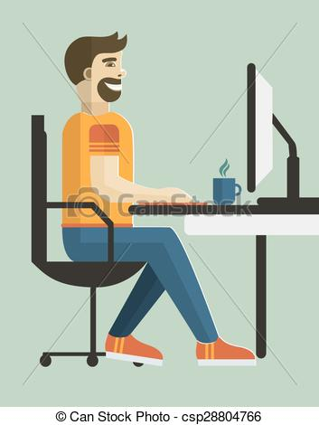 Clip Art Vector of Self employed man in home office..