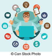 Self employment Vector Clipart Illustrations. 362 Self employment.