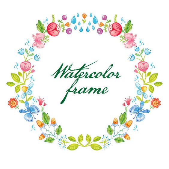 """floral wreath """"Spring"""", watercolor, clip art, hand painted, 1 png."""