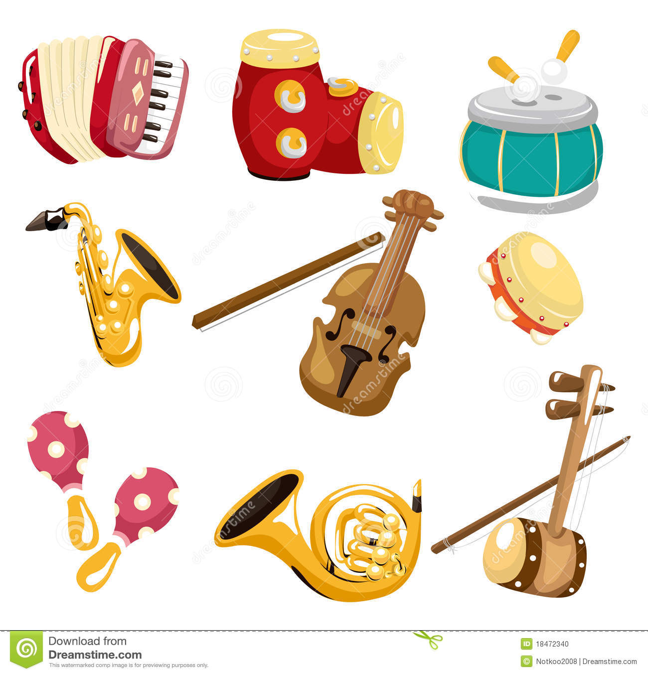 Cartoon musical instruments clipart.