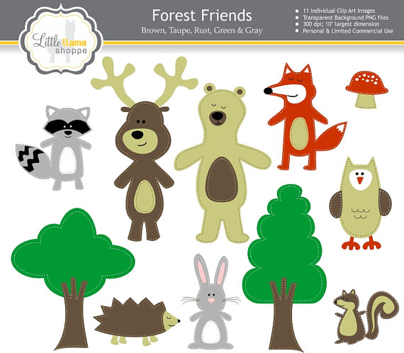 50% Off Sale: Woodland Forest Animals Stitched Digital Clipart.