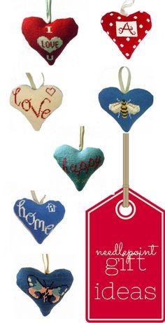 Easy homemade Valentine's gift ideas. Heart shaped needlepoint.