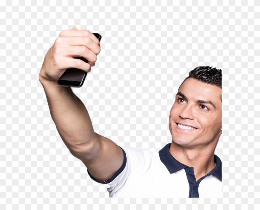 Cristiano Ronaldo Taking Selfie , Png Download.