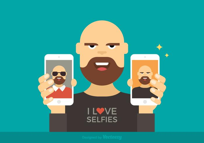 Man Showing Selfies Vector Illustration.