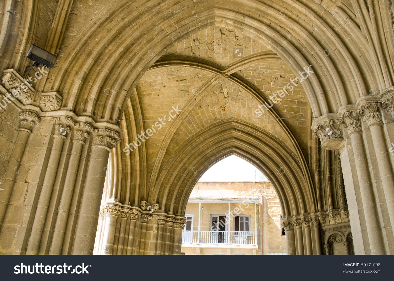 Architecture Detail Arches The Selimiye Mosque In Lefkosia Nicosia.