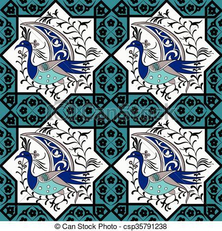 Vectors of Seljuk style Iznik seamless pattern.