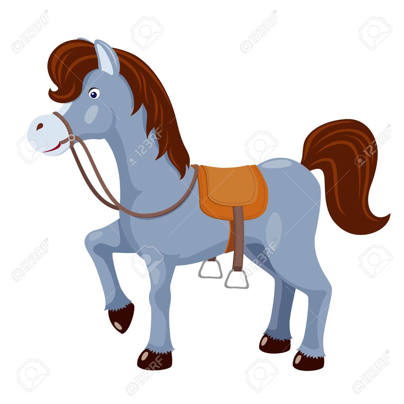 Cavallo Sveglio Con Il Vettore Sella Clipart Royalty.