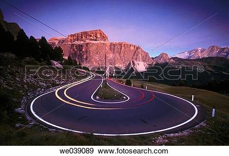 Stock Photograph of Sella Pass. Mountain road. Trentino. Alto.