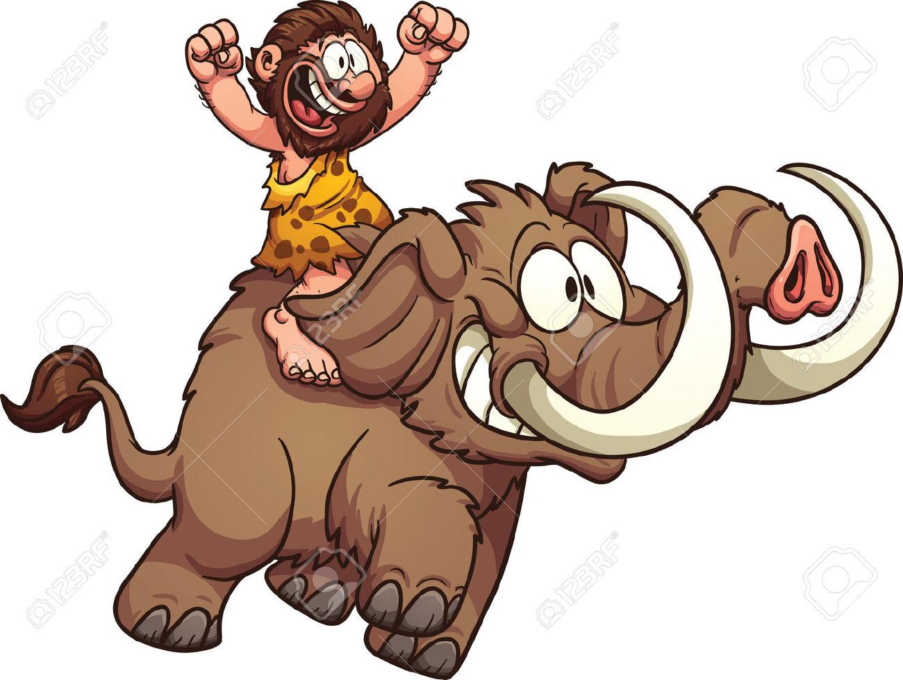 Caveman In Sella A Un Mammut. Vector Clip Art Illustrazione Con.