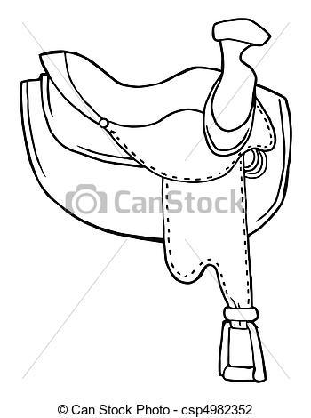 Illustrazioni vettoriali di delineato, cavallo, sella.