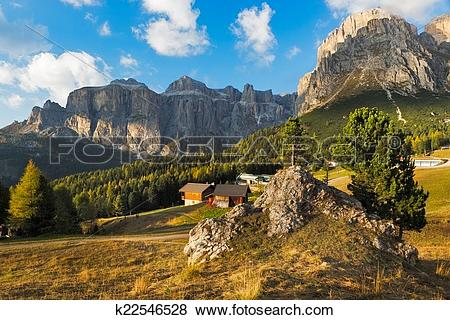 Pictures of Sella group at Passo Pordoi, Dolomites, Italy.