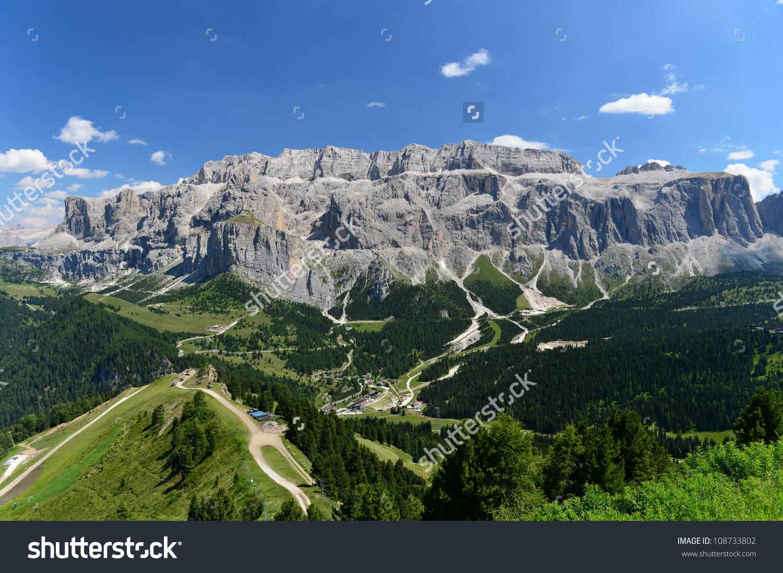 Sella Plateau Shaped Massif Dolomites Mountains Stock Photo.
