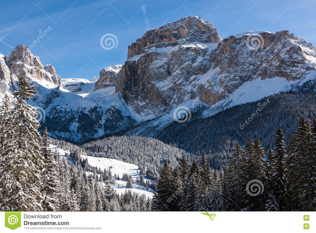 Sass Pordoi (in The Sella Group) With Snow In The Italian.